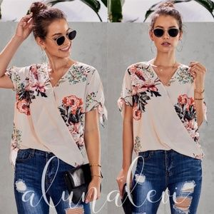 Tops - LUNA Floral Print Overlap Blouse